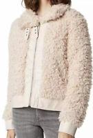 NWT BLANKNYC Womens Faux Fur Sherpa Jacket Tan Size M