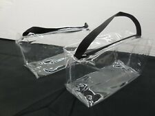 *NEW* 2 LARGE CLEAR ZIPPERED COSMETIC  PLASTIC MAKE-UP BAG POUCH STORAGE CASE