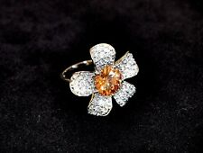 Sterling Silver Flower Ring with Swarovski Crystal