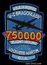 "USAF AIR FORCE U-2 DRAGONLADY 750000 FLIGHT HOURS -  CIA DOD - 4""  PATCH"