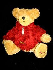 London ~ Soft Plush Harrods Knightsbridge Bear Red Fuzzy Sweater Seated