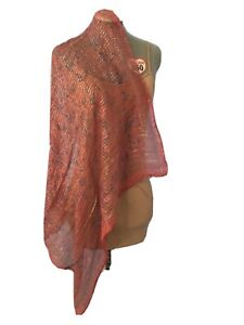 Indian Cotton Gauze Scarf Red & Blue Silver