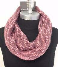 New Women Winter Infinity Circle Knit Cowl Neck Long Scarf Shawl Wrap Pink/Gray