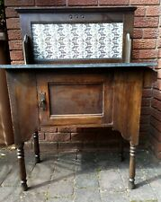 More details for antique marble topped wash stand with ornate back and towel rail