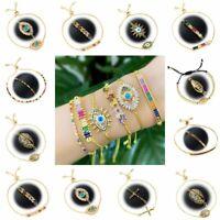 Fashion Women CZ Rainbow Turkish Evil Eye Bracelet Adjustable Anklet Jewelry