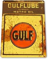 Gulflube Motor Oil Metal Sign Gas Oil Auto Garage Rustic Decor Sign