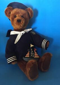 "JANET REEVES ""SAILOR BEAR"" MOHAIR BEAR 20""- DRESSED IN SAILOR SUIT WITH BOAT"