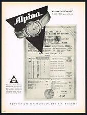 1950's Vintage 1953 Alpina Automatic De Luxe Swiss Chronometer Watch Print AD