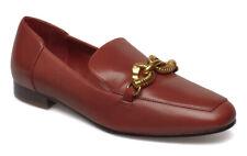 Tory Burch Women's Dark Sienna Leather Jessa Loafer Gold Buckle