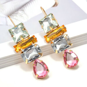 Elegant Drop Earrings for Women 18k Yellow Gold Plated Jewelry Gift A Pair