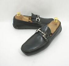 SALVATORE FERRAGAMO Parigi Size 6.5 EE Leather Black Moccasin Driving Shoe