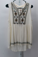 WOMEN'S SLEEVELESS EMBROIDERED KNIT TOP KNOX ROSE IVORY L  - NEW W/TAGS