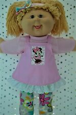 "Play n Wear Dolls Clothes For 16"" Cabbage Patch PINK DRESS~TOP~TIGHTS~HEADBAND"