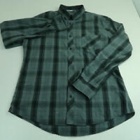 Hawk Button Up Shirt Mens Sz XL Gray Black Long Sleeve Cotton Plaid Casual Shirt