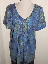 4x Amical Women Plus Size Blue Green Black Paisley Short Sleeve Knit Top NWT