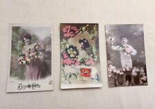 Lot 3 CPA Anciennes Cartes Postales fantaisie Fleurs BONNE FETE des années 1900