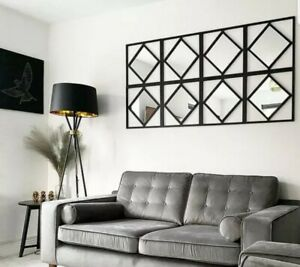 Gorgeous Set Of 3 Art Deco Style Manhattan Mirrors Black Square Mirrors 🤩