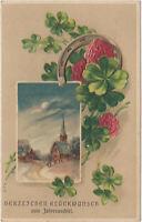 B 593 Neujahr 1912 ! Kleeblätter und Dorfansicht mit Kirche ! Präge - Karte !