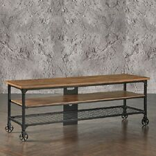 Rustic TV Stand Entertainment Center Industrial Media Console Table Wood Cart 65