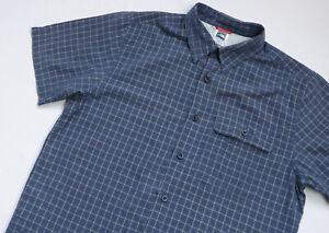 The North Face Outdoor shirt mens Short Sleeve top size M Medium navy blue CHECK