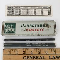 Vintage  A.W Faber Castell Pencil Tin 9000 3H and PRANG 2266 2270 2275