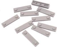 LEGO - 10 x Fliese / Platte 1x4 mit Noppen am Rand hellgrau / 92593 NEUWARE