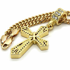 "Mens 14k Gold Plated X Cross Pendant With 30"" inches Cuban Chain Necklace"