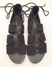 Women's Size 40 US 8.5 DIVIDED H&M Black Gladiator Lace Up Style Fashion Sandals