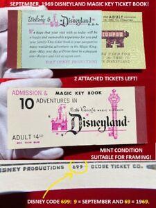 1969 Disneyland A - E TICKET MAGIC KEY COUPON BOOK 2 Tickets Left MINT!     P5