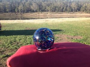 Hand blown Glass Friendship Ball good friend gift Blue and Purple 95