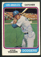 Steve Yeager #593 signed autograph auto 1974 Topps Baseball Trading Card