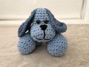 Plush Knit Dog Blue Knitted Yarn Crochet Stuffed Animal Small Puppy Toy