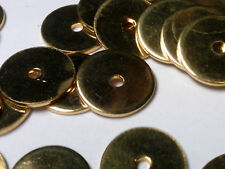Vtg 20 BRASS RONDELLE DISK METAL BEADS 10mm #112518j