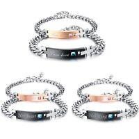 2 Edelstahl Freundschaftsarmband Paar Armbänder Armreife Damen Herren Armkette