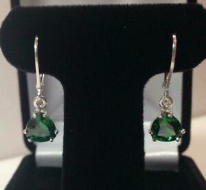 2Ct Trillion Emerald Women's Dangle Leverback Earring 14k White Gold Over Silver