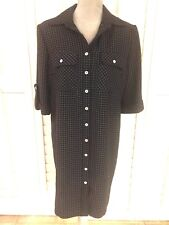 S.L. FASHIONS SHIRT DRESS SIZE 12 BLACK & WHITE CHECK 3/4 SLEEVES MADE IN USA