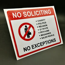 2 No Soliciting Vinyl Decal | Sticker | Window Label Solicitors Sign Trespassing
