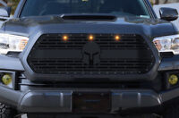 Steel SPARTAN Grille with 3 Amber Raptor Lights for 2016-17 Toyota Tacoma Grill