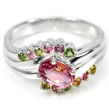 Sterling Silver 925 Genuine Natural Pink & Mixed Toumaline Ring Size R1/2 (US 9)