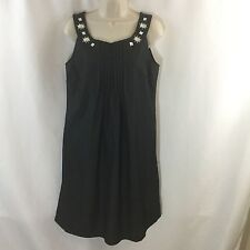 Ladies Julian Taylor gray Sleeveless pleated front rhinestone Dress Size 8  EUC