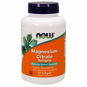 Now Foods MAGNESIUM CITRATE 134 mg, 90 Softgels NERVOUS SYSTEM SUPPORT