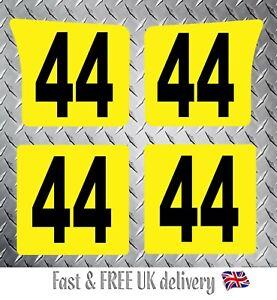 4 x Custom Kart Race Numbers including Background - MSA 2020 Compliant (YB) S2
