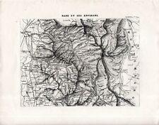 Carta geografica antica FERROVIE BADEN-BADEN e dintorni 1870 Old antique map