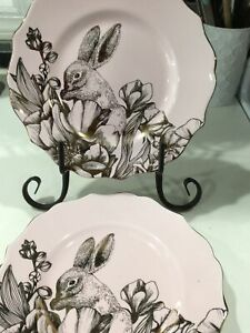 222Fifth Garden Playtime Gold And Pink Easter , Bunny 4 New Salad Plates