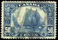 Canada #158 used VF HR 1929 Scroll Issue 50c dark blue Bluenose CV$100.00