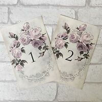 Vintage Style Wedding Table Numbers Names Cards - Shabby Chic Lilac Flower Rose