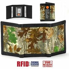 RFID Blocking Leather & Canvas Camouflage Mens Trifold CAMO Wallet SP803-CAMO