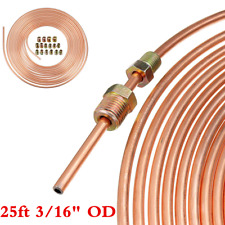Copper Nickel 25Ft Car Brake Line Tubing Kit 3/16'' OD Tube + 16Pcs Accessories