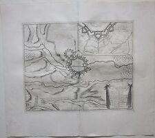 1729 PLAN ET ATTAQUE DE LA VILLAS de LANDAU en der Pfalz Dumont cobre plato