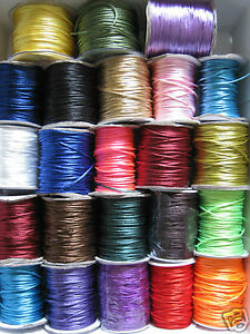 2mm RAT TAIL / SATIN CORD  SILKY RATTAIL KUMIHIMO various colours x 10m or 20m